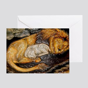 The Lion and the Lamb Stained Glass Greeting Card