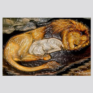 The Lion and the Lamb Stained Glass Large Poster