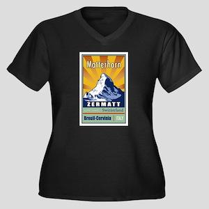 Matterhorn Women's Plus Size V-Neck Dark T-Shirt