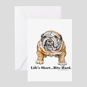 Bulldog Bite for Dog lovers Greeting Card
