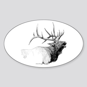 Bull Elk Oval Sticker