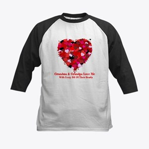 Grandma and Grandpa Love Me Heart Baseball Jersey