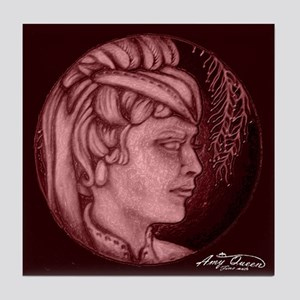 Margery cameo burgundy Tile Coaster