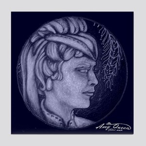 Margery cameos Royal blue Tile Coaster