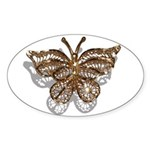 Gold Butterfly Sticker (Oval)