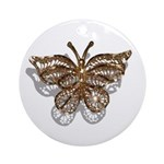 Gold Butterfly Ornament (Round)