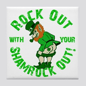Rock Out with your Shamrock Out Tile Coaster