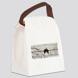 Love Birds textual art design Canvas Lunch Bag