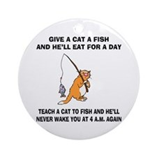 Teach A Cat To Fish Ornament (Round)