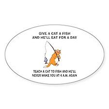 Teach A Cat To Fish Oval Sticker