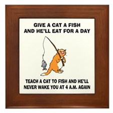 Teach A Cat To Fish Framed Tile