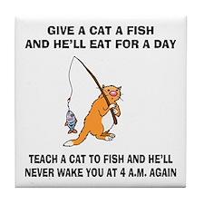 Teach A Cat To Fish Tile Coaster