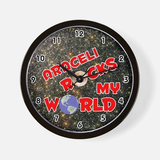 Araceli Rocks My World (Red) Wall Clock