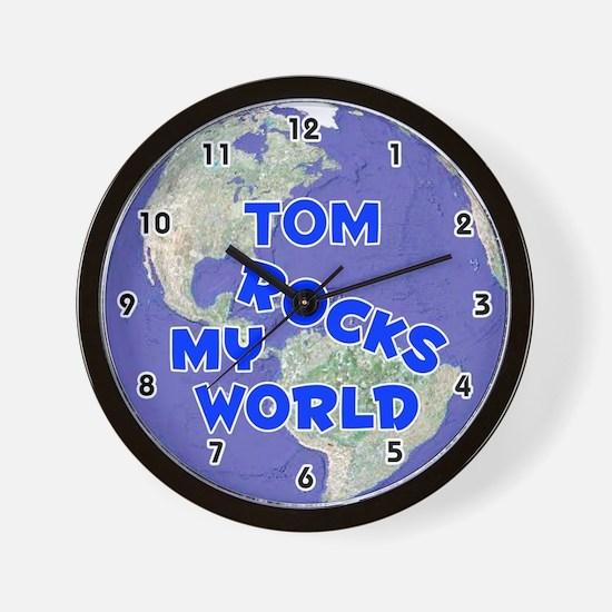 Tom Rocks My World (Blue) Wall Clock