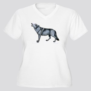 Howling Timber Wolf ~ Women's Plus Size V-Neck T-S
