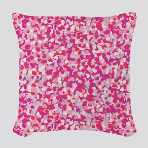 Pink Confetti Hearts Woven Throw Pillow