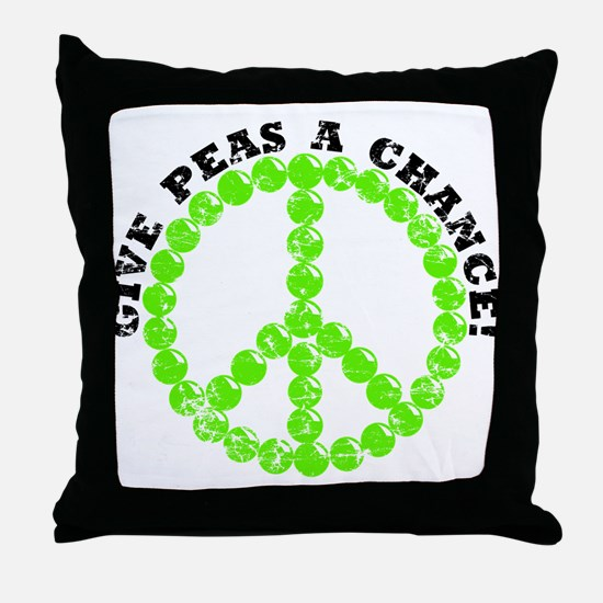 Peas a Chance (Distressed) Throw Pillow