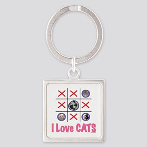 I Love CATS Square Keychain