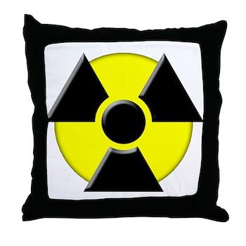 3D Radioactive Symbol Throw Pillow