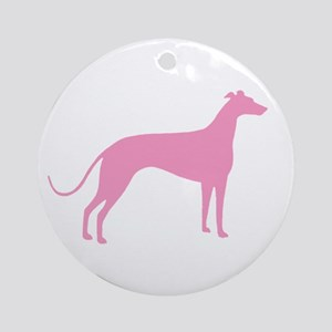 Pink Greyhound Ornament (Round)