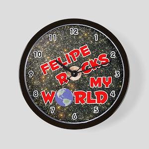 Felipe Rocks My World (Red) Wall Clock