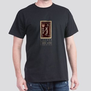 Lithuania Basketball Stamp Dark T-Shirt