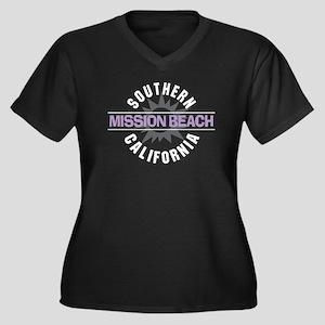 Mission Beach Women's Plus Size V-Neck Dark T-Shir