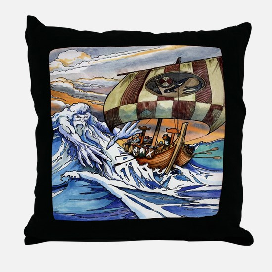 Norse God of the Sea Throw Pillow