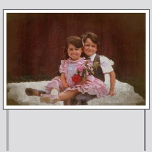 Brother and sister sitting with flowers Yard Sign