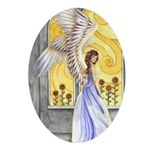 """Sunflower Angel"" Angel Keepsake Oval Ornament"