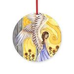 """Sunflower Angel"" Angel Keepsake Round Ornament"