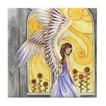 """""""Sunflower Angel"""" Sun Flower Angel Tile Coaster"""