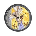 """""""Sunflower Angel"""" Sun Flower Angel Wall Clock"""