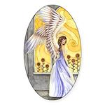 """Sunflower Angel"" Sun Angel Oval Sticker"