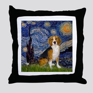 Starry Night & Beagle Throw Pillow