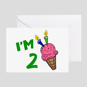 """I'm 2"" Ice Cream Cone Greeting Card"