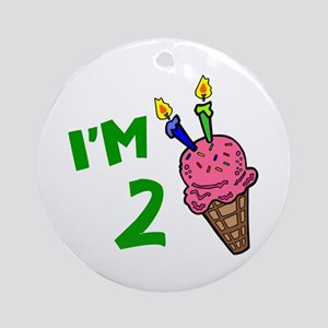 """I'm 2"" Ice Cream Cone Ornament (Round)"