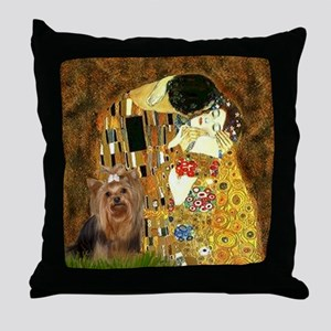 "Klimpt's ""The Kiss"" & Yorkie Throw Pillow"