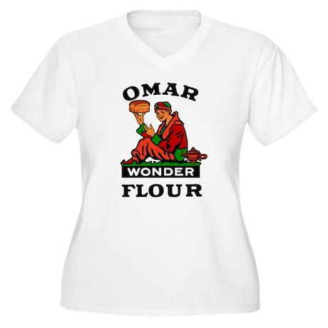 OMAR FLOUR Women's Plus Size V-Neck T-Shirt