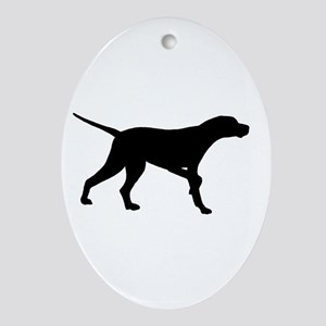 Pointer Dog On Point Oval Ornament