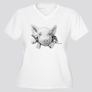 Baby Pig Women's Plus Size V-Neck T-Shirt