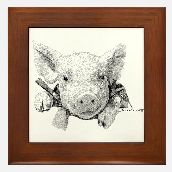 Baby Pig Framed Tile