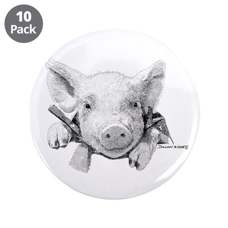 """Baby Pig 3.5"""" Button (10 pack)"""