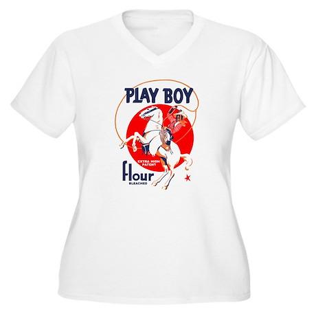 Play Boy Flour Women's Plus Size V-Neck T-Shirt