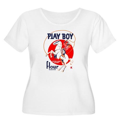 Play Boy Flour Women's Plus Size Scoop Neck T-Shir