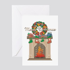 Christmas Fireplace Greeting Card