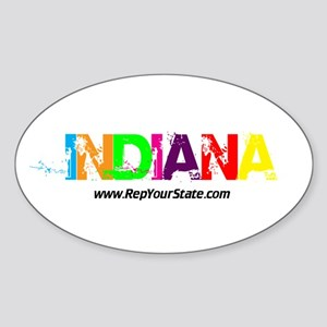 Colorful Indiana Oval Sticker