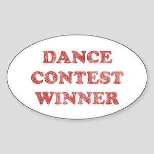 Vintage Dance Contest Winner Oval Sticker