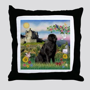 Castle & Newfie Throw Pillow