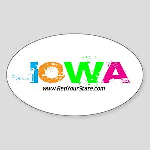 Colorful Iowa Oval Sticker